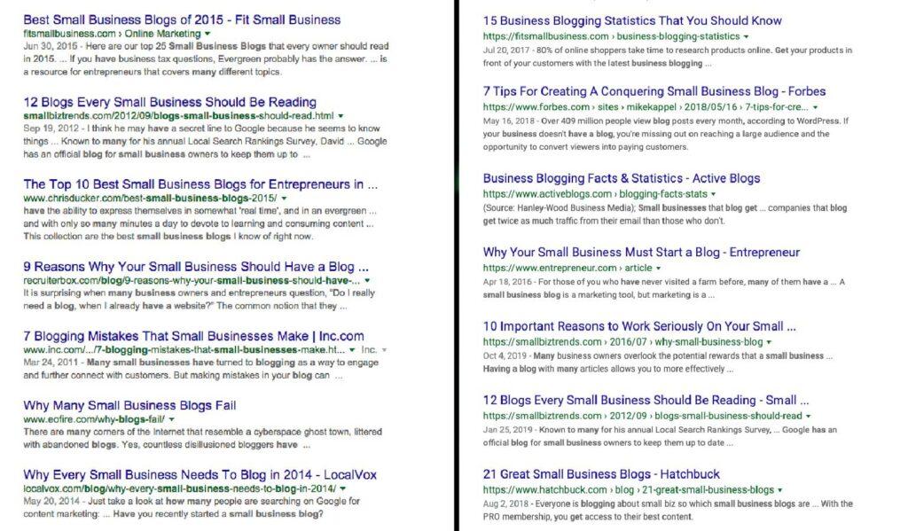 Søket How many small businesses have a blog før og etter BERT