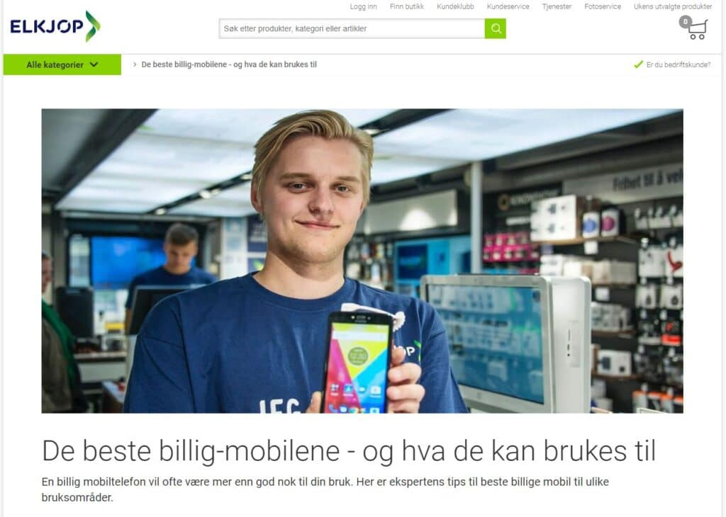 Innholdsmarkedsføring fra Elkjøp om billige mobiltelefoner