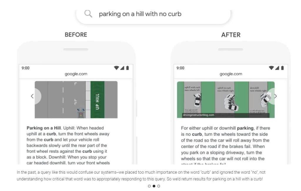 Googles søkeresultat for søket Parking on a hill with no curb før og etter BERT