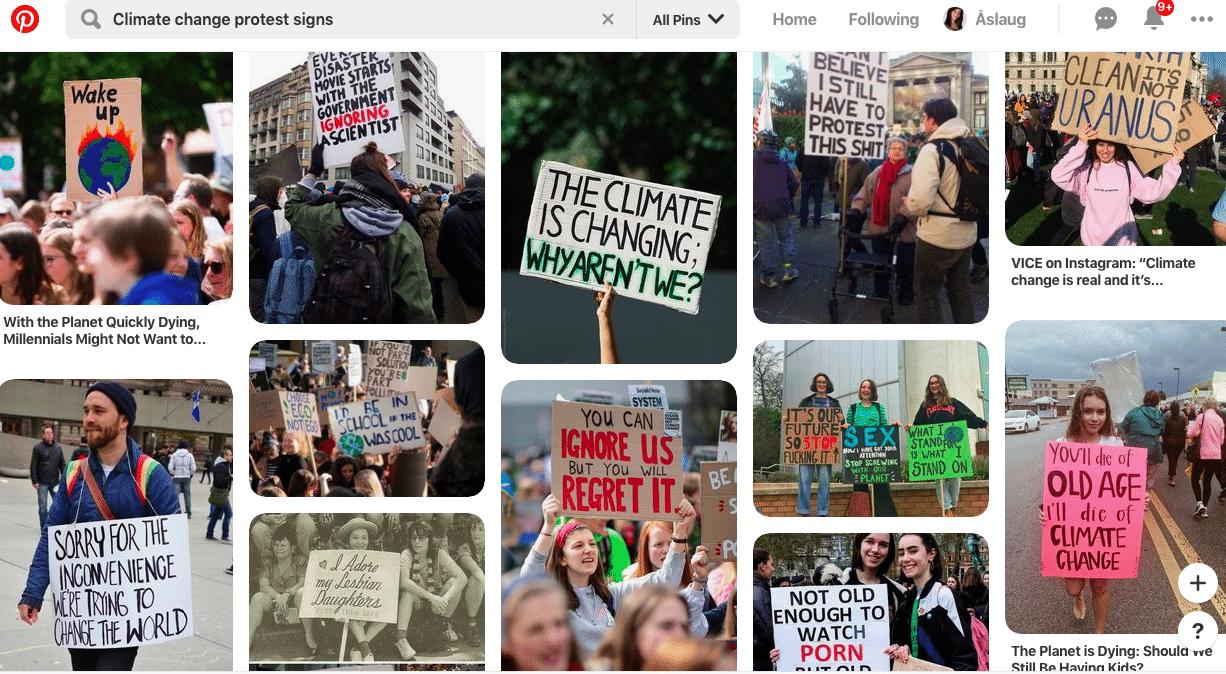 Pinterestside med bilder av mennesker med protestplakater.
