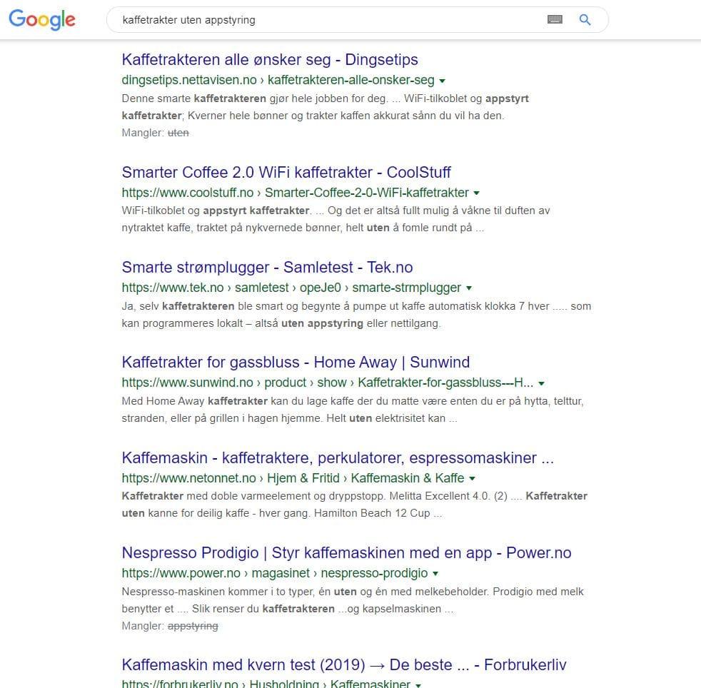 Googles resultat av søket kaffetrakter uten appstyring - etter BERT