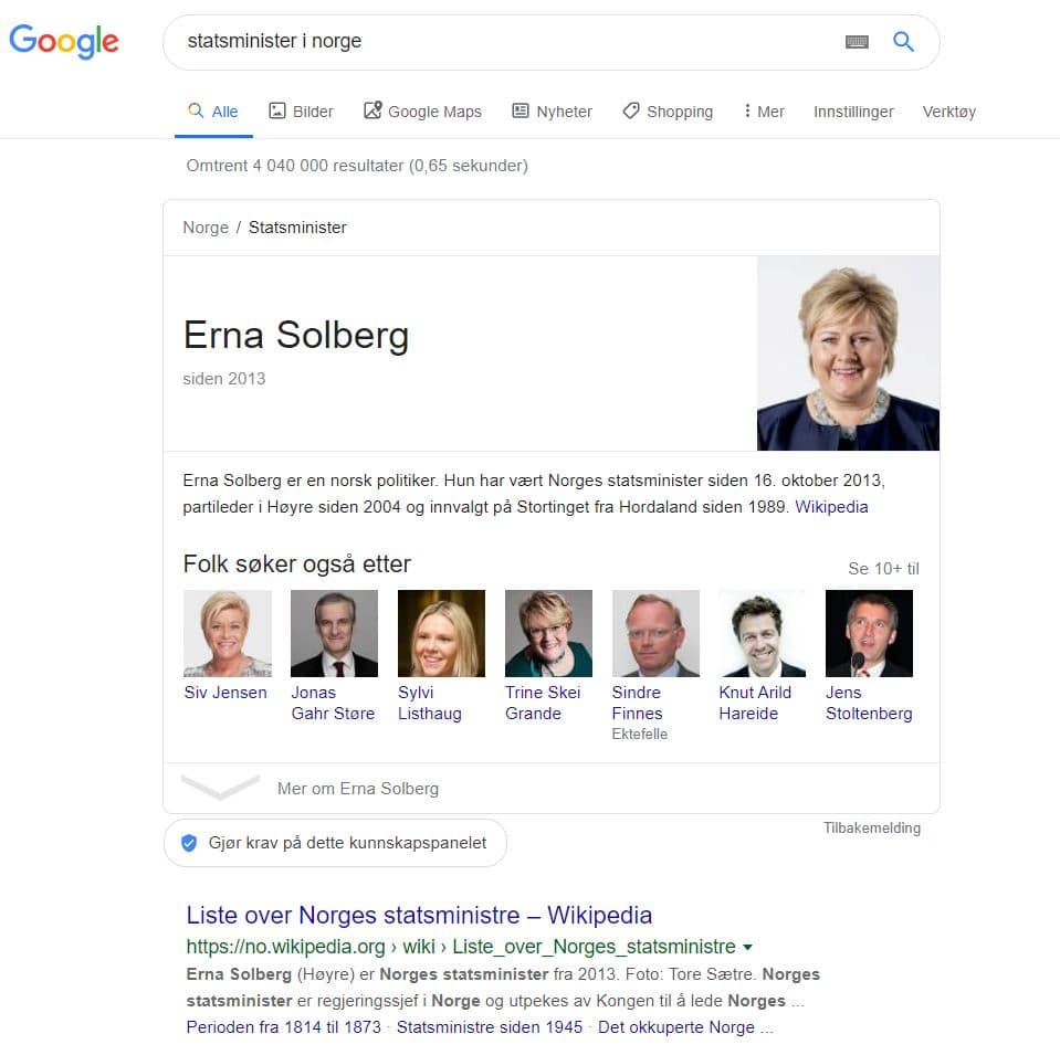 Google-resultatet for søket statsminister i norge