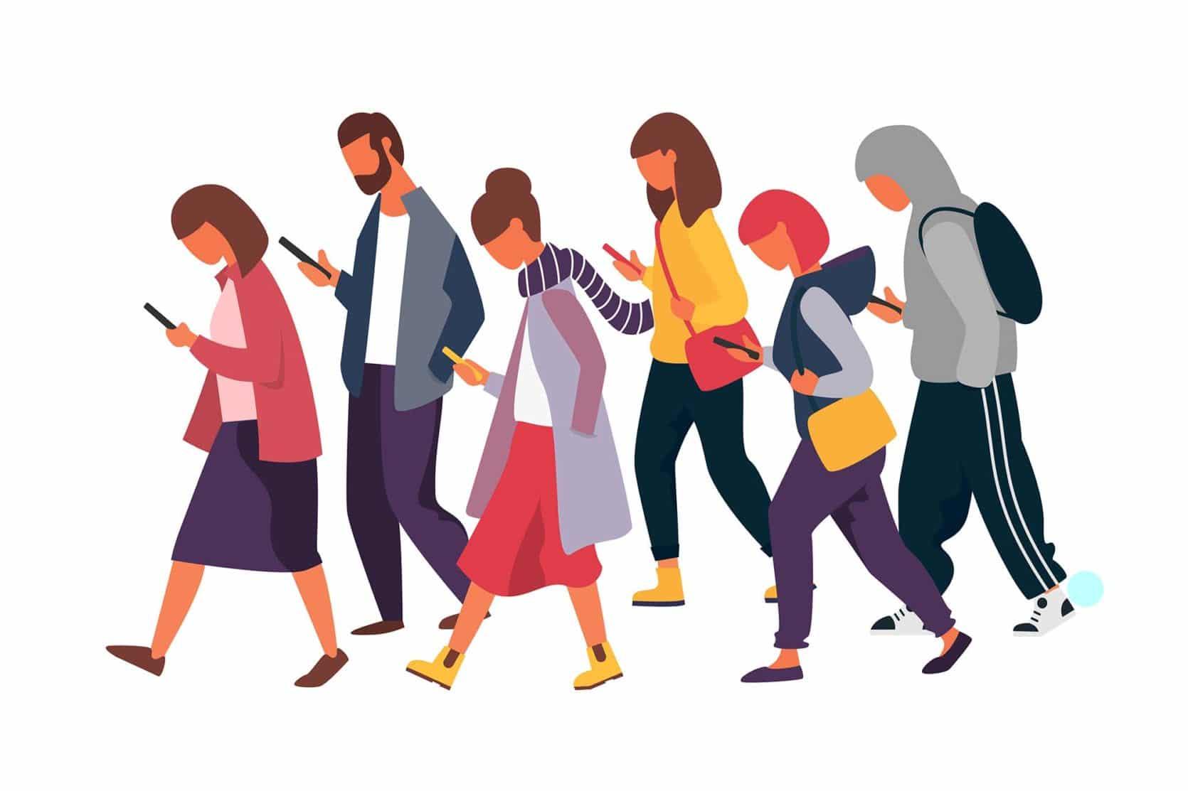 Illustrasjon av menn og kvinner som leser på mobilen